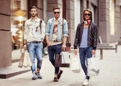 Three Young male fashion metraseksualy shop shopping walk